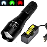 BESTSUN Tactical LED Flashlight Ultra Bright RGB 3 Colors Red Green White Lights Handheld Lamp Zoomable 5 Mode Water Resistant Portable Torch with Magnetic Base, 18650 Rechargeable Battery and Charger