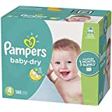 Pampers Baby Dry Disposable Baby Diapers, Size 4, 186 Count, ONE MONTH SUPPLY