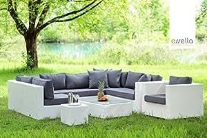 Sintético essella Miami juego de muebles en color blanco incluye funda extra-resistente 1,4 mm mimbre