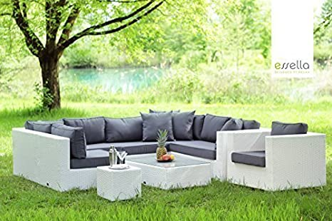 Essella Miami Salon de jardin en polyrotin 1,4 mm Blanc: Amazon.fr ...