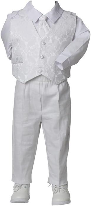 a0ac7c1e2ac06 Tenue de Baptême en lin Blanc pour Bébé - Blanc - 24 mois  Amazon.fr ...