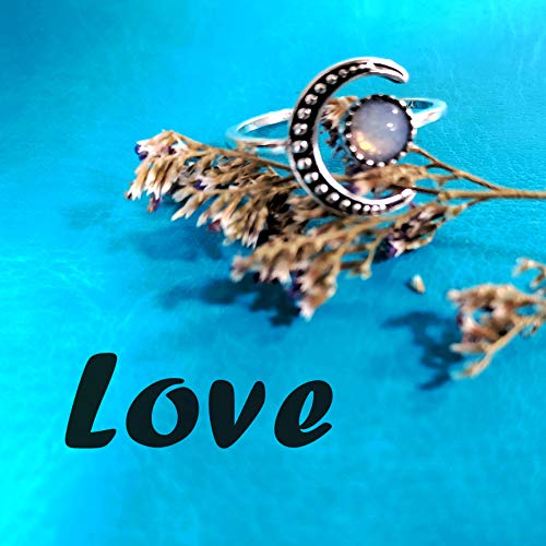 Ymibull Fashion Moonstone Rings, Women Adjustable Ring Jewelry Gift for Friend Family (Silver)