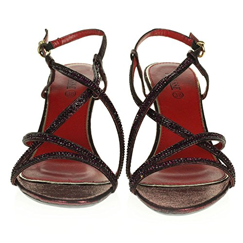 Nupcial Tamaño Cruzadas Correas Granate Bodas Prom Diamante Señoras Zapatos Tacón Alto Mujer Fiesta Crystal Sandalias De Noche WvwqZnFg8x