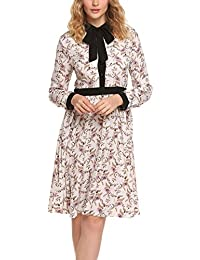 Women's Floral Printed Turn Down Collar Button Front Pleated Swing Dress With Belt