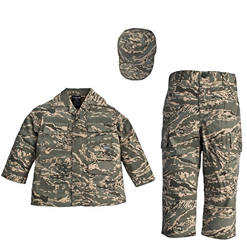 Trendy Apparel Shop Kid's US Soldier Airman ABU Camo Uniform 3pc Set Costume Cap, Jacket, Pants - ABU - -