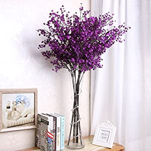 YYF 5pcs Artificial Flowers Silk Gypsophila Stem Bouquets Babys Breath Floral Fake Flowers for Wedding Party Home Garden Decorations 10