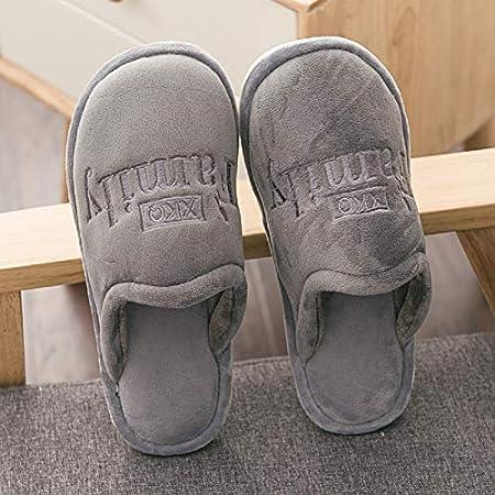 MON5F Home Couple de Maison Chauds Pantoufles en Coton Tissu d'hiver Femme en Coton en Peluche Glisser des Chaussures en Coton antidérapant pour Hommes (Color : Grey, Size : 1)