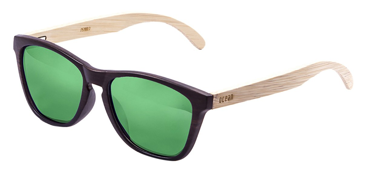 OCEAN SUNGLASSES Sea Lunettes de Soleil Mixte Adulte, Brown Frame/Wood Natural Arms/Revo Green Lens