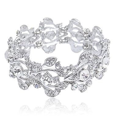 EVER FAITH® Bridal Silver-Tone Floral Leaf Elastic Bracelet Clear Austrian Crystal