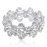 EVER-FAITH-Bridal-Floral-Leaf-Elastic-Bracelet-Clear-Austrian-Crystal