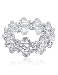 Ever Faith Bridal Floral Leaf Elastic Bracelet Clear Austrian Crystal