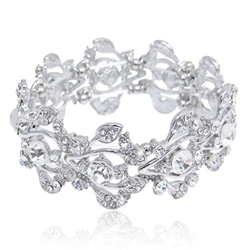 EVER FAITH Bridal Silver-Tone Floral Leaf Elastic Bracelet Clear Austrian Crystal