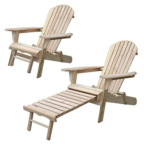 Walcut Unpainted Series of Magic Garden Outdoor Patio Deck Garden Foldable Adirondack Wood Chair with Pull Out Ottoman