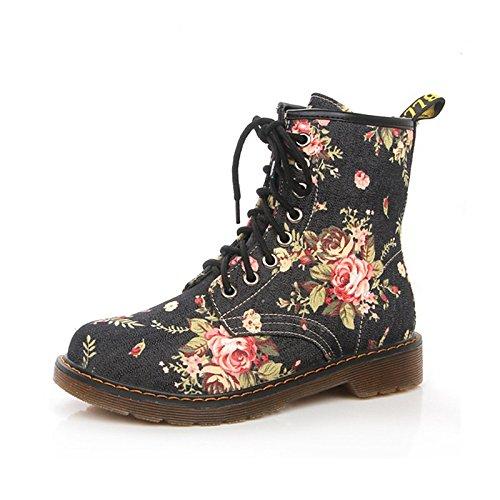 Cowboy Botas combate de Otoño lienzo Blue botas WIKAI botas upFlat Invierno carrera Office Casual mujeres de amp; Comfort Western Novedad Lace caminando YOqdPv