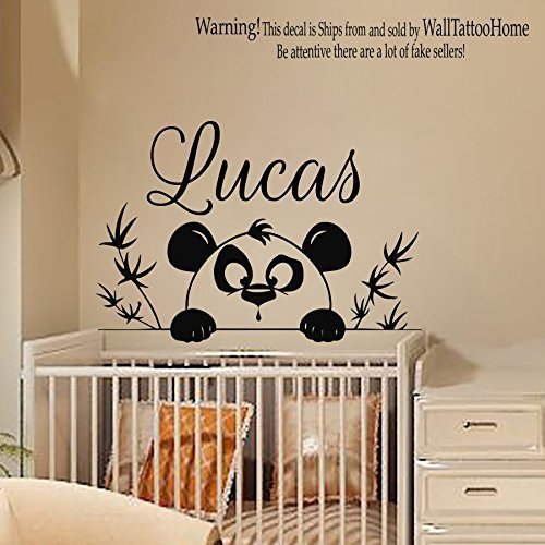 Wall Decals Personalized Name Decal Vinyl Sticker Tree Branch Panda Boy Baby Children Nursery Bedroom Playroom Decor Window Art Murals MN567 (Stickers 567)