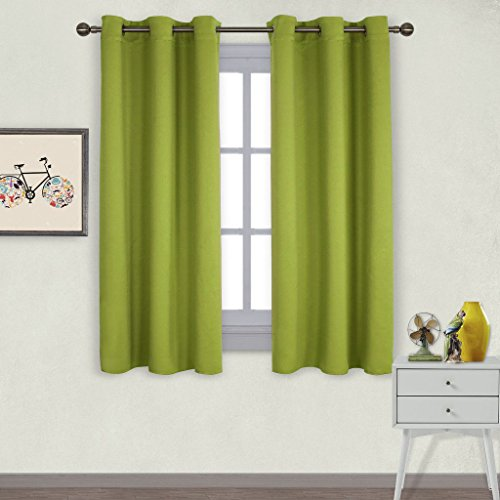 NICETOWN Thermal Insulated Solid Grommet Top Blackout Curtains/Drapes for Kid's Room (1 Pair,42 x 63 Inch in Fresh Green) ()