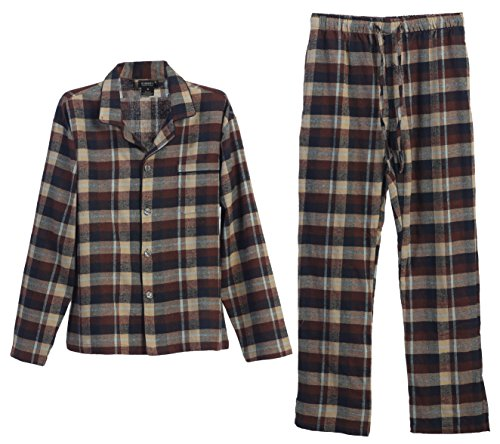 Gioberti 2 Piece Mens Flannel Pajamas, Shirt and Pants Set, Brown / Khaki, X Large