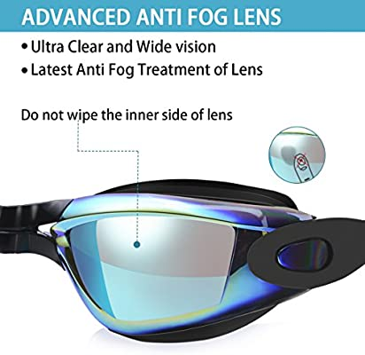 Over 6 Years Old - Mirrored//Clear Lens Anti Fog No Leaking UV Protection Swimming Goggles with Free Protection Case for Men Women Adult Youth Kids adepoy Swim Goggles