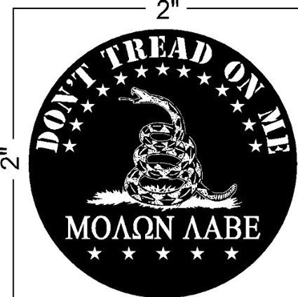 """4-Pack--Don't Tread on Me, Molon Labe (COME AND TAKE THEM!) gadsden, Patriotic Black Hat Hardhat Motorcycle Helmet Decal Sticker Placard 2""""W X 2""""H"""