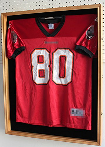 Cabinet Jersey Display Case (XX LARGE Football Hockey Jersey Display Case Shadow Box Frame with Hanger, Locks, 98% UV Protection Door)