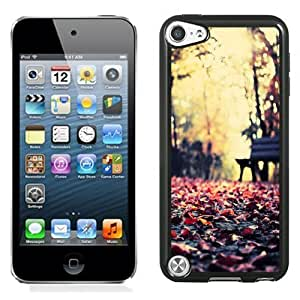 NEW Unique Custom Designed iPod Touch 5 Phone Case With Red Autumn Leaves Park Bench_Black Phone Case