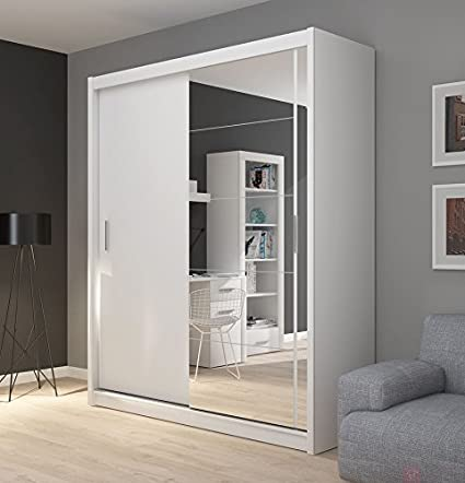 FADO Grande Blanco Espejo 2 Puerta Armario Armario de Puertas correderas Espejo Perchero estantes Colgante Dormitorio Pasillo Muebles: Amazon.es: Hogar