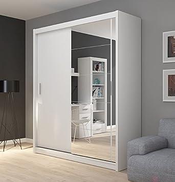 Fado Groß Weiß Verspiegelt Kleiderschrank Mit 2 Schrank Mit Schiebetüren  Spiegel Einlegeböden Zum Aufhängen Kleiderstange Schlafzimmer