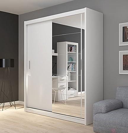 FADO Large White Mirrored 2 Door Wardrobe Closet With Sliding Doors Mirror Shelves Hanging Clothes Rail