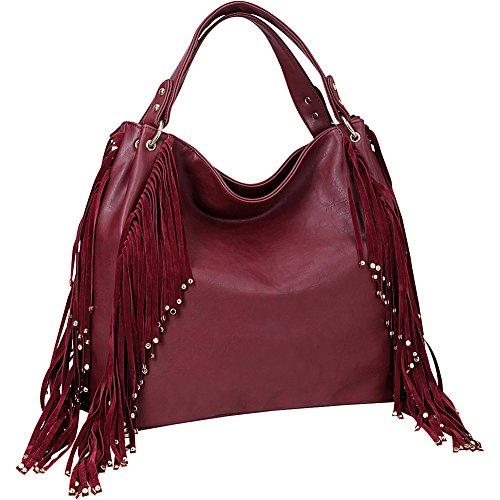 Dasein Fringe Studded Faux Leather Hobo ()