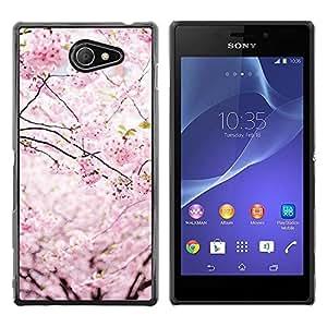 Be Good Phone Accessory // Dura Cáscara cubierta Protectora Caso Carcasa Funda de Protección para Sony Xperia M2 // Spring Japan Floral Petals Blooming Cherry