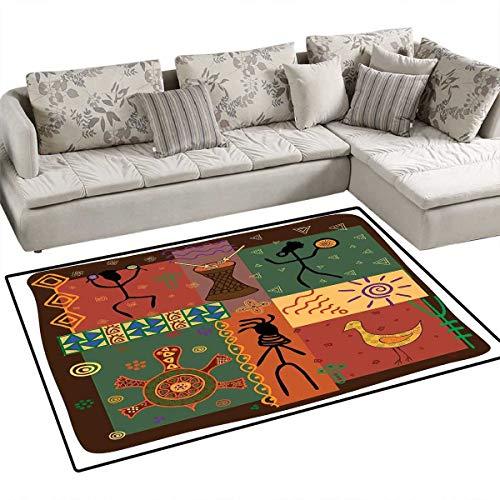Primitive Bath Mat 3D Digital Printing Mat Funky Tribal Pattern Depicting African Style Dance Moves Instruments Spiritual Door Mat Increase 55