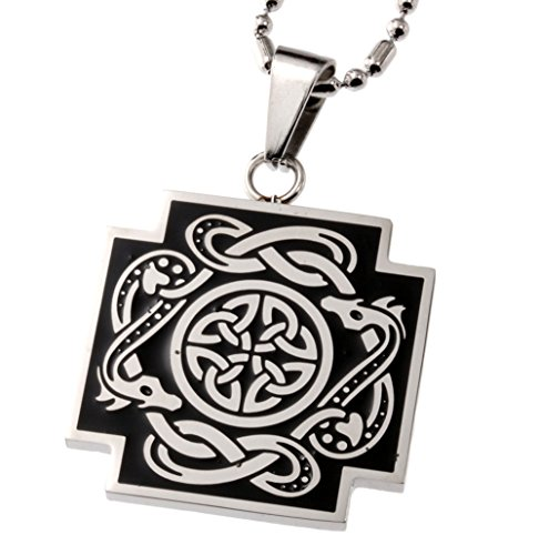 R.H. Jewelry Stainless Steel Pendant Celtic Cross with Dragon Pendant Celtic Cross Dragon Pendant