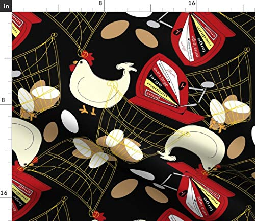 Chicken and Eggs Fabric - Farm Country Chic Rooster Hen Chicken Farming Chicken Eggs Egg Scale Chicken Print on Fabric by The Yard - Sport Lycra for Swimwear Performance Leggings Apparel Fashion
