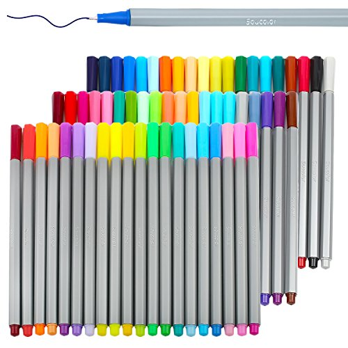 Soucolor Fineliner Color Pen Set, Set of 60 Assorted Colors, 0.4mm Colored Fine Liner Sketch Drawing Pen, Porous Point Marker - Perfect for Coloring Books and Bullet Journal
