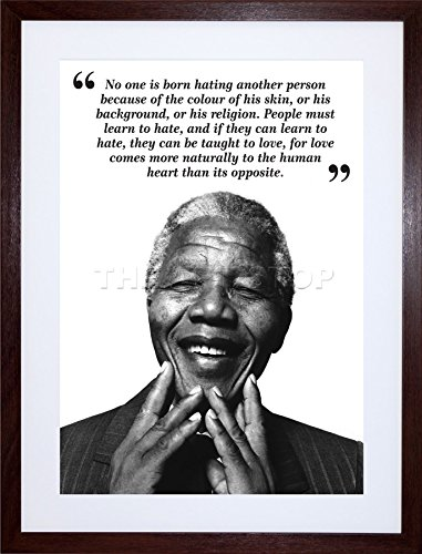 Nelson Mandela Photo (NO ONE IS BORN HATING NELSON MANDELA BW QUOTE ART FRAME PRINT PICTURE F12X631)