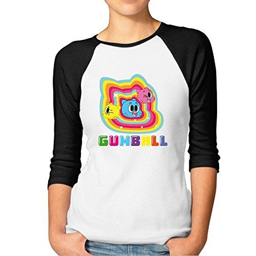 P-Jack Women's The Amazing World Of Gumball Cotton Three-Quarter Sleeve Raglan T-shirts Black M