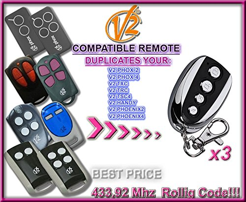 3 X V2 TXC2, TXC4, HANDY2, HANDY4 compatible CLONE remote control replacement transmitters, 433,92Mhz rolling code clone!!! 3 Top quality clone remotes for THE BEST PRICE!!!