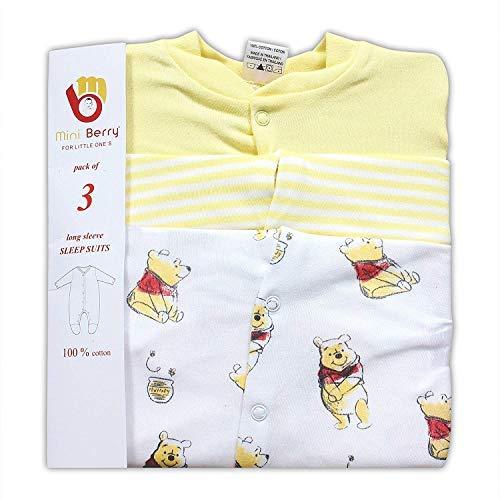 Baby Station Unisex Long Sleeve Cotton Sleep Suit/Romper Set of 3pcs