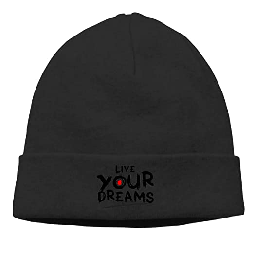 Adult Skull Cap Beanie Live Your Dreams Knitted Hat Headwear Winter
