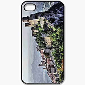 Protective Case Back Cover For iPhone 4 4S Case Country San Marino Landscape Castle Rocks Black