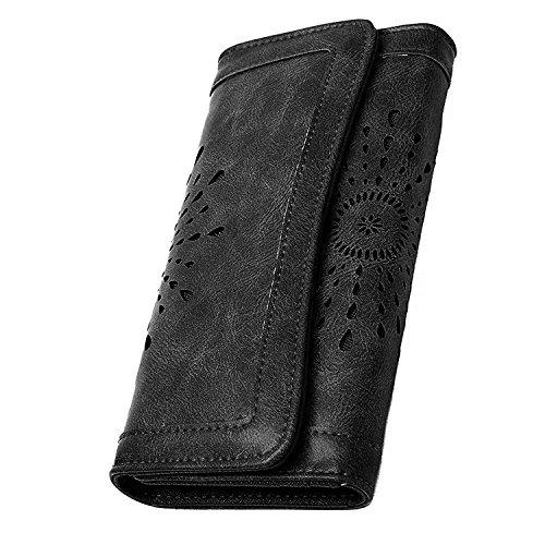 Damen Elegant PU Leder Geldbörse mit Vintage Design Damen Portemonnaie Geldbeutel, Damengeldbörse lang,Portmonee mit Reißverschluss, Farbe:schwarz- braun (schwarz) schwarz