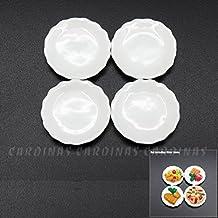Odoria 1:12 Miniature 4PCS White Porcelain Dishes Ceramic Plates Dollhouse Kitchen Accessories