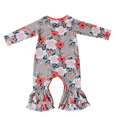 Newborn Infant Baby Girl jumpsuit Romper Cotton print Long Sleeve 6-9 Months (Newborn, Grey-Flowers)