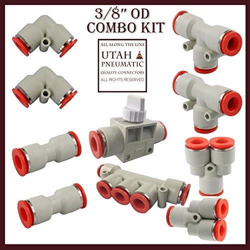 Utah Pneumatic 3/8 Od Push To Connect Fittings Pneumatic Fittings Kit 2 y Spliters+2 Elbows+2 Tee+2 Straight+1 Manifold+ Hand Valves Tube Fittings Set 10 Pack Plastic (3/8 Combo Kit white)