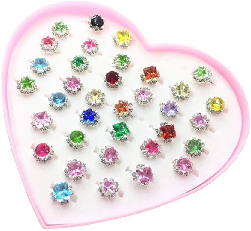 YeahiBaby 36pcs Niños Niños Joyas de niña Joyas de Diamantes de imitación en Caja Chica Pretende Jugar y Vestir Anillos Niñas Regalo de cumpleaños