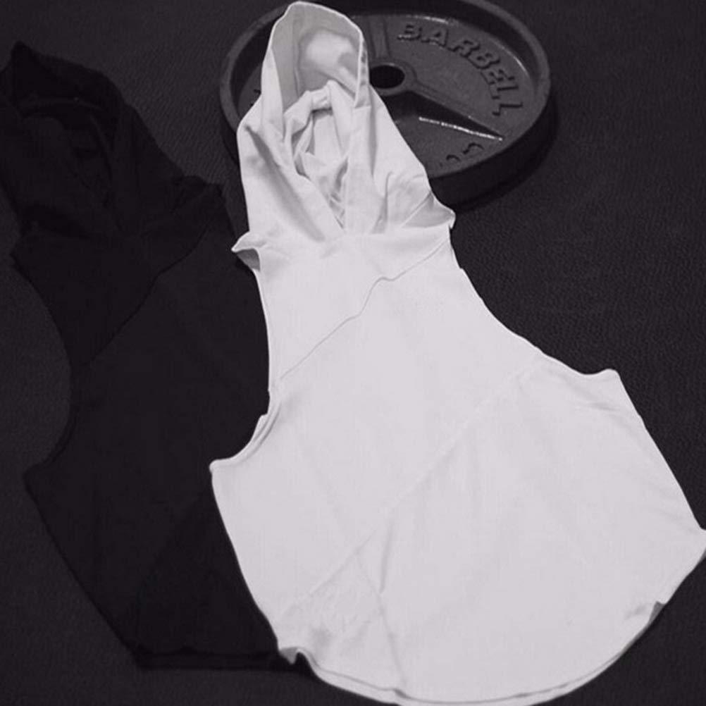 Men Sleeveless Hooded Sport Vest Blouse Gym Workout Tank Top Casual Hoodies T Shirt
