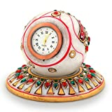 Little India Gold Painted Handmade Round Marble Table Clock 177