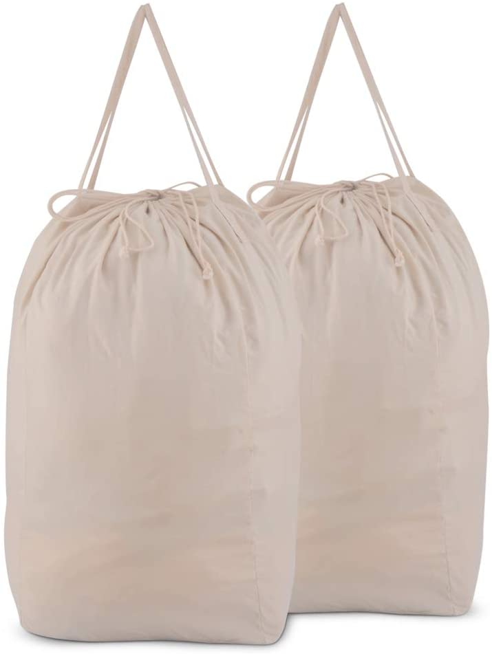 MCleanPin Washable Laundry Bags with Handles,Dirty Clothes Storage for College Dorm or Travel, Laundry Liner Fit Most Laundry Hamper or Basket,2 Pack (Beige)