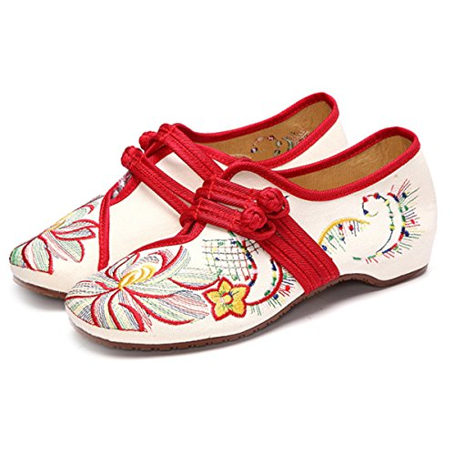 Womens Manual Flower Embroidered Canvas Shoes,Chinese Knot Vintage Flat Casual Loafer Shoes Beige