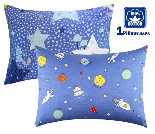 Set of 1 Cartoon Toddler Travel Pillowcase 100% Cotto- Cuddle Collection for Boys or Girl ,For 13x18,12x16 Pillow,Double-Sided different - Rocketships and Stars,FREE TRAVEL PACKAGE (Toddler Travel Pillowcase)